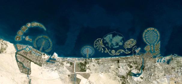 Ilhas Artificiais de Dubai. Fonte: https://blogdopetcivil.com