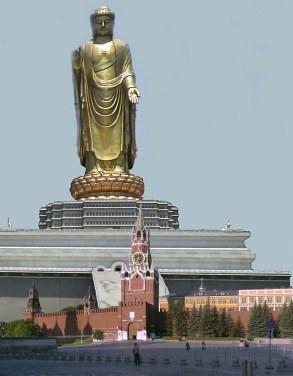 Buda do Templo da Primavera, localizado na China. Com 153 metros, é a estátua mais alta do mundo. Imagem: https://nossalinhadotempo.blogspot.com.br